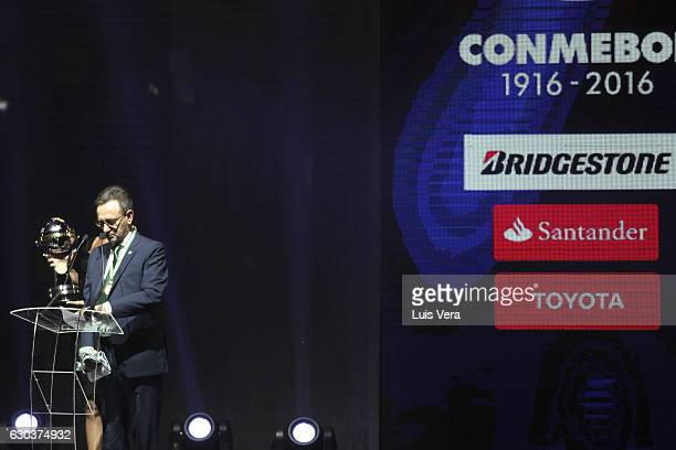 Plinio David de Nes president of Chapecoense gives a speech after receiveng the Copa Sudamericana Champions Trophy during the Copa Libertadores 2017...