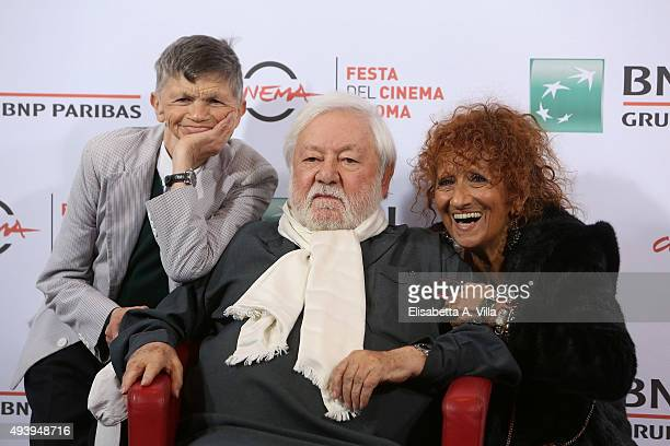 Plinio Fernando Paolo Villaggio and Anna Mazzamauro attend a photocall for 'Fantozzi' during the 10th Rome Film Fest at Auditorium Parco Della Musica...