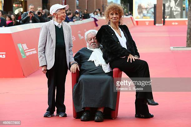 Plinio Fernando Paolo Villaggio and Anna Mazzamauro attend a red carpet for 'Fantozzi' during the 10th Rome Film Fest on October 23 2015 in Rome Italy
