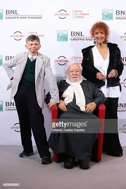 Plinio Fernando Paolo Villaggio and Anna Mazzamauro attends a photocall for 'Fantozzi' during the 10th Rome Film Fest on October 23 2015 in Rome Italy