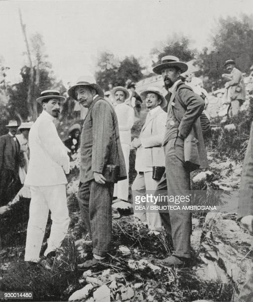 Plinio Nomellini Gabriele d'Annunzio and Clement Origo at the Carrara mine Italy from L'Illustrazione Italiana Year XXXIV No 30 July 28 1907