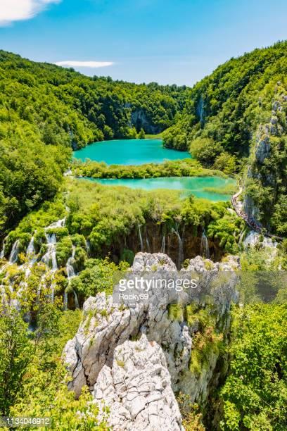 plitvice waterfalls, plitvicka jezera, national park, croatia - falling water flowing water stock pictures, royalty-free photos & images