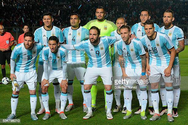 Pllayers of Argentina pose for a team photo prior to an international friendly match between Argentina and Honduras at Bicentenario de San Juan...