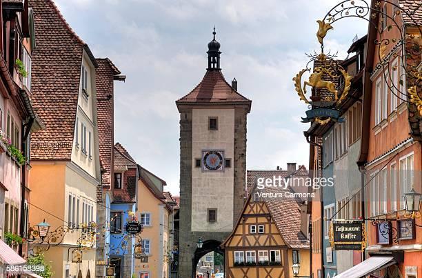 plönlein of rothenburg ob der tauber (germany) - rothenburg stock photos and pictures
