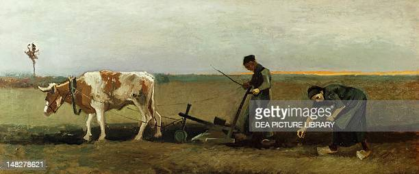 Ploughman with Woman Planting Potatoes by Vincent van Gogh Wuppertal Von Der HeydtMuseum