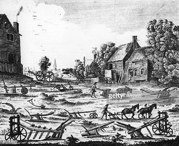 1748 Ploughs used in English agriculture in the 18th century Original Artwork Engraved for the Universal Magazine for J Hinton at the King's Arms in...