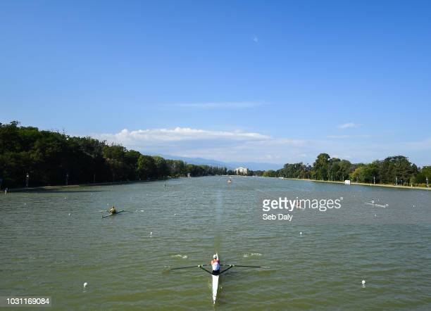 Plovdiv Bulgaria 11 September 2018 A general view of rowers during the first Lightweight Men's Single Sculls repechage event on day three of the...