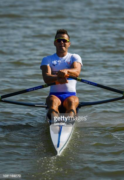 Plovdiv Bulgaria 11 September 2018 Samuel Mottram of Great Britain on his way to winning his Lightweight Men's Single Sculls repechage event on day...
