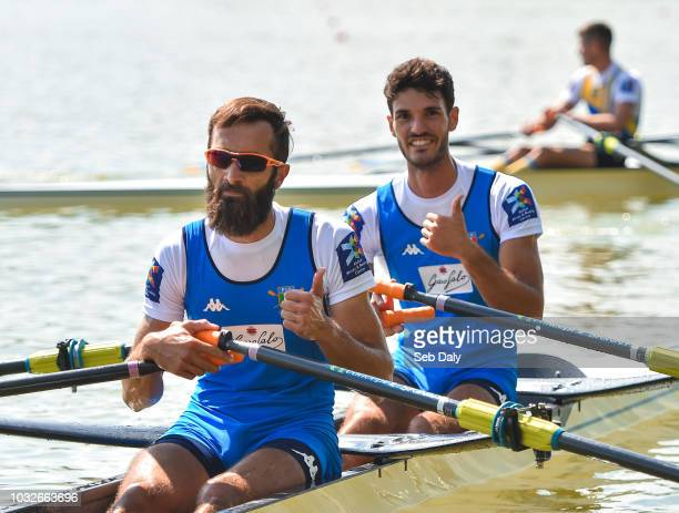 Plovdiv Bulgaria 13 September 2018 Pietro Ruta left and Stefano Oppo of Italy after winning their Lightweight Men's Double Sculls semifinal race on...