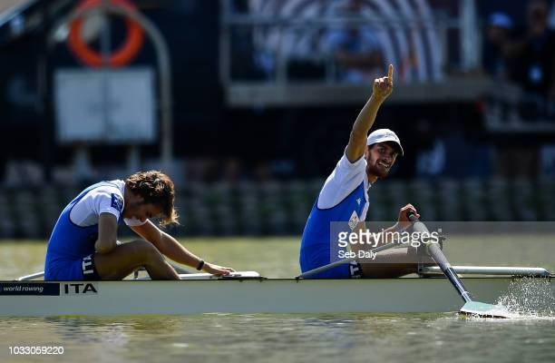 Plovdiv Bulgaria 14 September 2018 Alfonso Scalzone right and Giuseppe Di Mare of Italy after winning the Lightweight Men's Pair final on day six of...