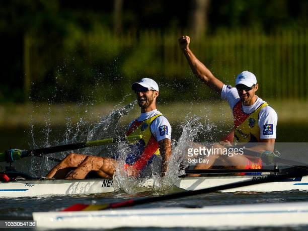 Plovdiv Bulgaria 14 September 2018 Ciprian Tudosa left and MariusVasile Cozmiuc of Romania celebrate after winning second in their Men's Pair...