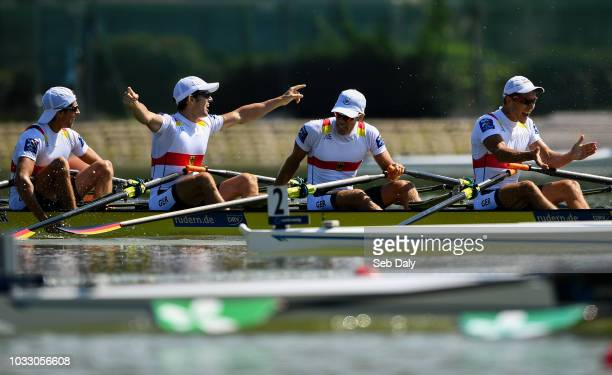 Plovdiv Bulgaria 14 September 2018 Germany team from left Florian Roller Moritz Moos Max Roeger and Joachim Agne celebrate following their victory in...