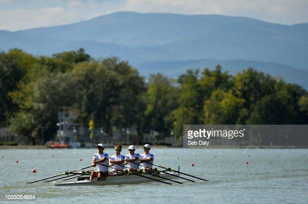 Plovdiv Bulgaria 14 September 2018 Ireland team from left Andrew Goff Jacob McCarthy Ryan Ballantine and Fintan McCarthy make their way to the start...