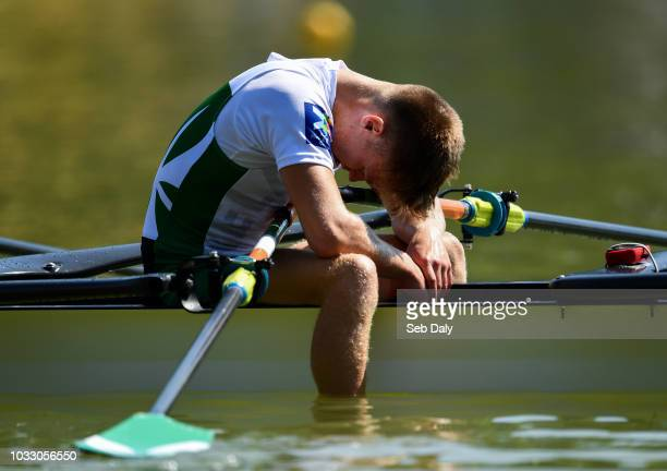 Plovdiv Bulgaria 14 September 2018 Jacob McCarthy of Ireland reacts following his team's fifth place finish during their Lightweight Men's Quadruple...