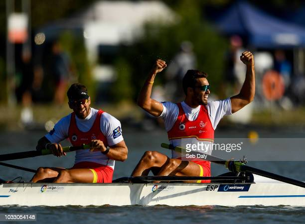 Plovdiv Bulgaria 14 September 2018 Javier Garcia Ordonez left and Jaime Canalejo Pazos of Spain celebrate after finishing second in their Men's Pair...