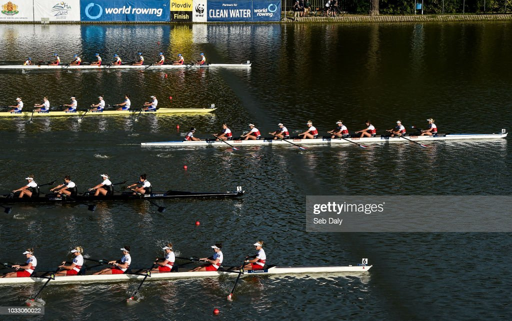 Plovdiv , Bulgaria - 14 September 2018; Netherlands team, right, cross the line to win their Women's Eight repechage race on day six of the World Rowing Championships in Plovdiv, Bulgaria.
