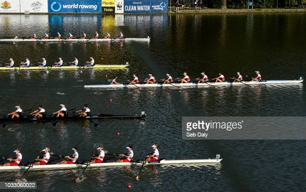 Plovdiv Bulgaria 14 September 2018 Netherlands team right cross the line to win their Women's Eight repechage race on day six of the World Rowing...