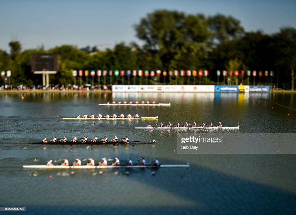 Plovdiv , Bulgaria - 14 September 2018; (EDITOR'S NOTE; A variable planed lens was used in the creation of this image) Netherlands team, right, on their way to winning their Women's Eight repechage race on day six of the World Rowing Championships in Plovdiv, Bulgaria.