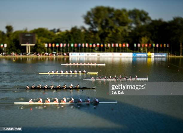 Plovdiv Bulgaria 14 September 2018 Netherlands team right on their way to winning their Women's Eight repechage race on day six of the World Rowing...