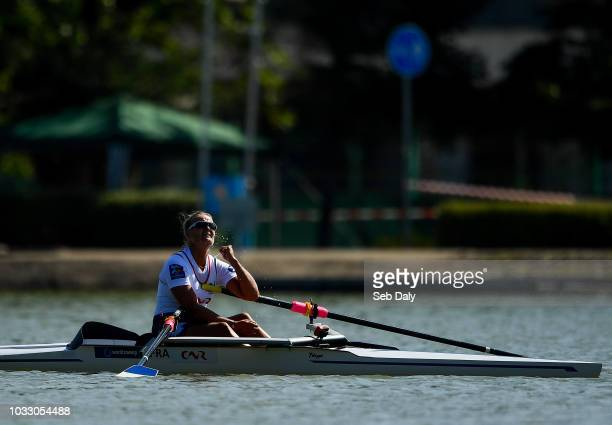 Plovdiv Bulgaria 14 September 2018 Perle Bouge of France celebrates after winning the PR2 Women's Single Sculls final on day six of the World Rowing...