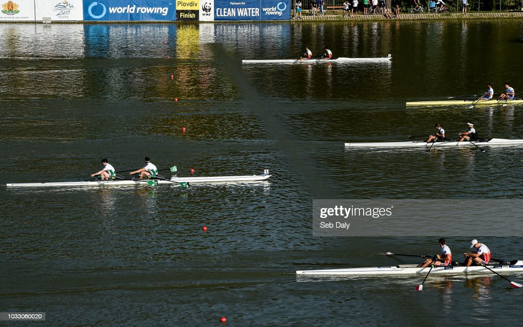 Plovdiv , Bulgaria - 14 September 2018; Ronan Byrne and Philip Doyle of Ireland, left, on their way to finishing fifth in their Men's Double Sculls semi-final on day six of the World Rowing Championships in Plovdiv, Bulgaria.