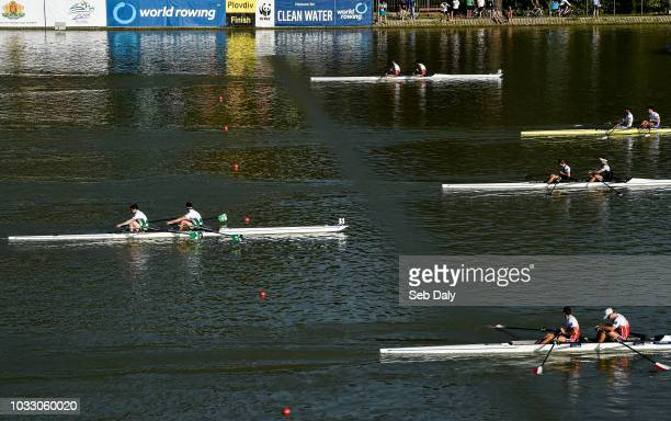 Plovdiv Bulgaria 14 September 2018 Ronan Byrne and Philip Doyle of Ireland left on their way to finishing fifth in their Men's Double Sculls...
