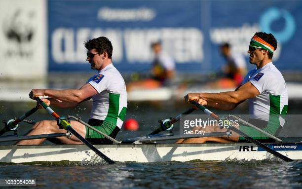 Plovdiv Bulgaria 14 September 2018 Ronan Byrne left and Philip Doyle of Ireland on their way to finishing fifth in their Men's Double Sculls...