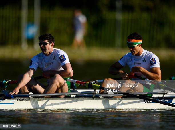 Plovdiv Bulgaria 14 September 2018 Ronan Byrne left and Philip Doyle of Ireland after finishing fifth in their Men's Double Sculls semifinal on day...