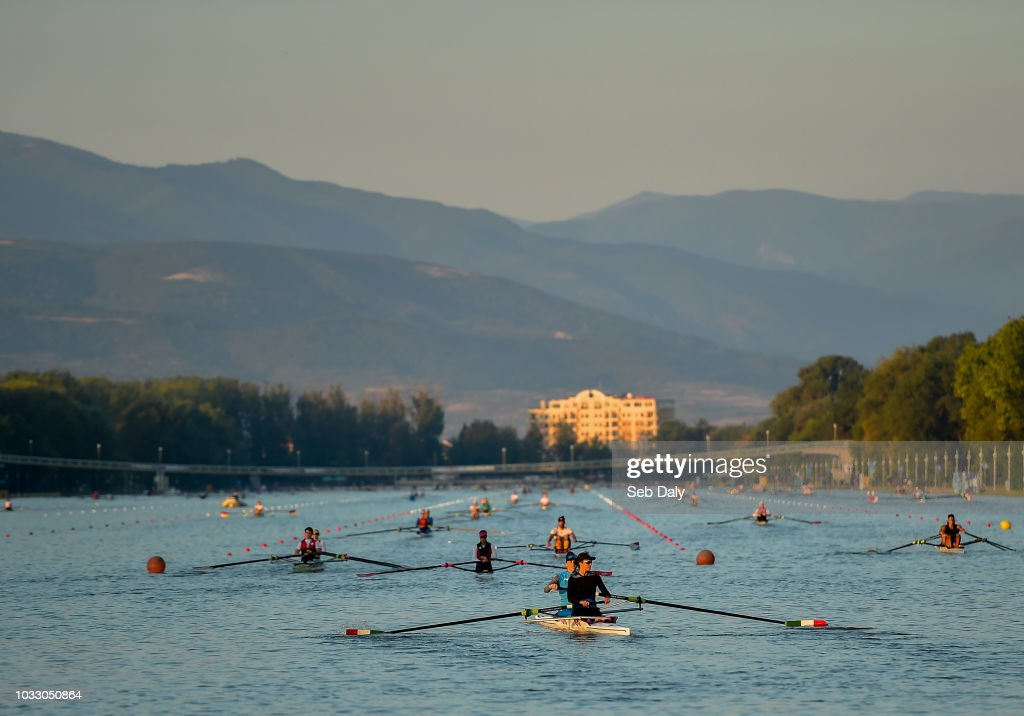 Plovdiv , Bulgaria - 14 September 2018; Rowers warm-up prior to racing on day six of the World Rowing Championships in Plovdiv, Bulgaria.