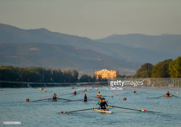 Plovdiv Bulgaria 14 September 2018 Rowers warmup prior to racing on day six of the World Rowing Championships in Plovdiv Bulgaria