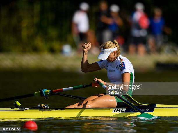Plovdiv Bulgaria 14 September 2018 Sanita Puspure of Ireland celebrates after winning her Women's Single Sculls semifinal on day six of the World...