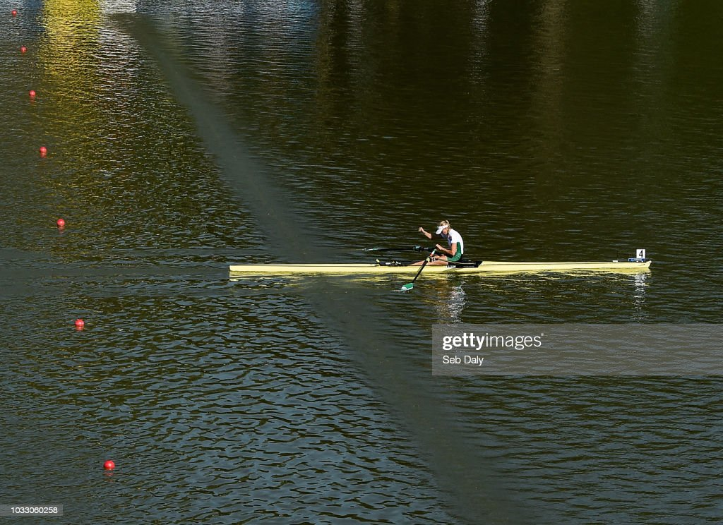 Plovdiv , Bulgaria - 14 September 2018; Sanita Puspure of Ireland celebrates as she crosses the line to win her Women's Single Sculls semi-final on day six of the World Rowing Championships in Plovdiv, Bulgaria.
