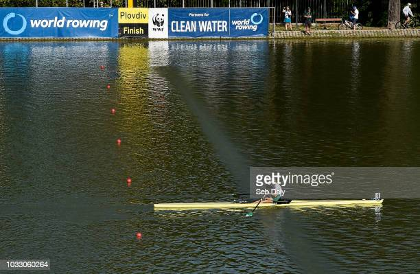 Plovdiv Bulgaria 14 September 2018 Sanita Puspure of Ireland celebrates as she crosses the line to win her Women's Single Sculls semifinal on day six...