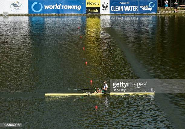 Plovdiv Bulgaria 14 September 2018 Sanita Puspure of Ireland crosses the line to win her Women's Single Sculls semifinal on day six of the World...