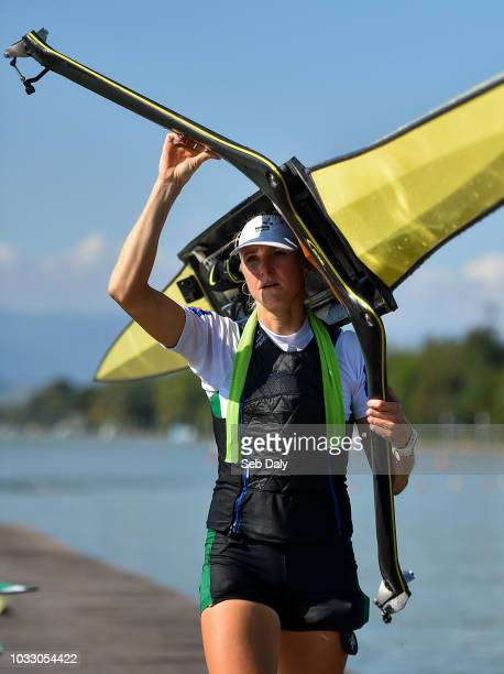 Plovdiv Bulgaria 14 September 2018 Sanita Puspure of Ireland following her victory in the Women's Single Sculls semifinal on day six of the World...