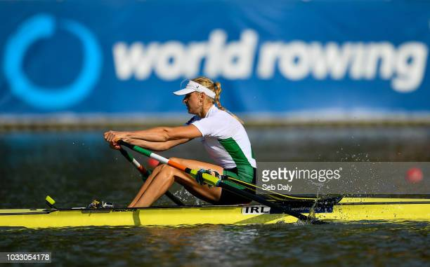 Plovdiv Bulgaria 14 September 2018 Sanita Puspure of Ireland celebrates on her way to win her Women's Single Sculls semifinal on day six of the World...