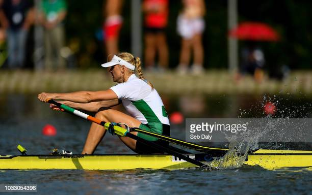 Plovdiv Bulgaria 14 September 2018 Sanita Puspure of Ireland on her way to winning her Women's Single Sculls semifinal on day six of the World Rowing...