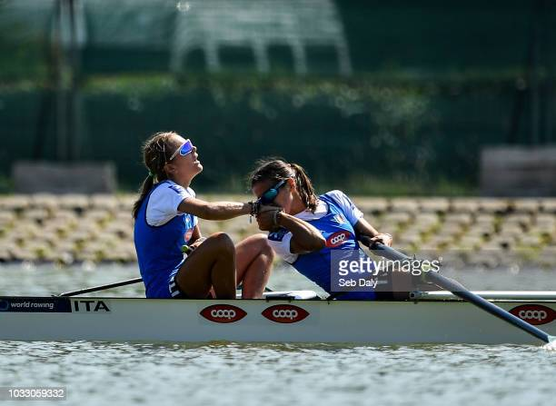 Plovdiv Bulgaria 14 September 2018 Serena Lo Bue left and Giorgia Lo Bue of Italy reacts after winning the Lightweight Women's Pair final on day six...