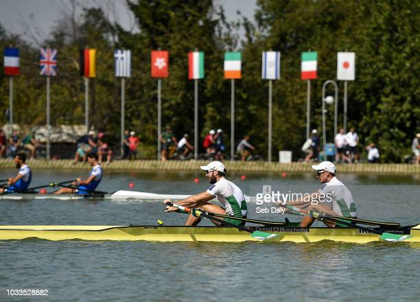 Plovdiv , Bulgaria - 15 September 2018; Paul O'Donovan, left, and Gary O'Donovan of Ireland on their way to winning their Lightweight Men's Double...