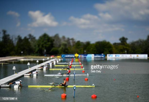 Plovdiv Bulgaria 9 September 2018 Dzianis Mihal of Belarus near competing in the Men's Single Sculls heat event during day one of the World Rowing...