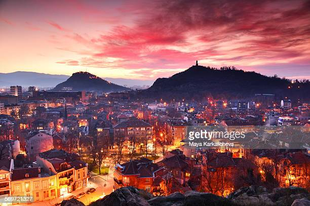 plovdiv city at night , europe, bulgaria - bulgaria stock pictures, royalty-free photos & images