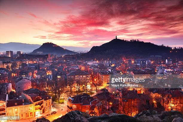 Plovdiv city at night , Europe, Bulgaria