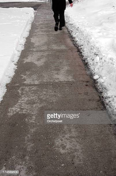 plowed and salted winter street - road salt stock pictures, royalty-free photos & images