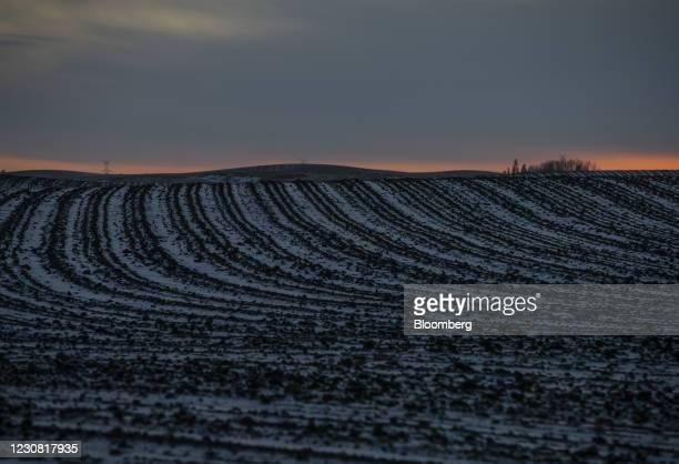 Plowed field along the Keystone XL pipeline route in Oyen, Alberta, Canada, on Tuesday, Jan. 26, 2021. U.S. President Joe Biden revokedthe permit...