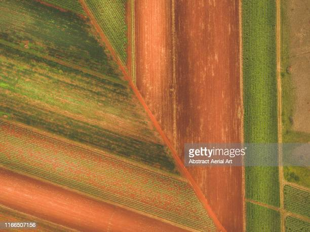 plowed field as seen from directly above, queensland, australia - horizontal stock pictures, royalty-free photos & images
