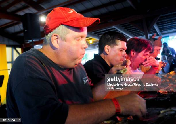 Plowville, PADan Murphy of Muhlenberg, competes in the oyster eating contest. Dan took first place in the contest.During the Celtic Oyster Festival...