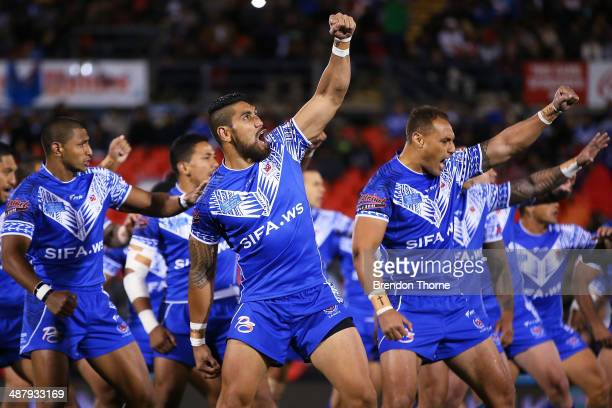 Plsyers from Samoa perform their chant prior to the U20's State of Origin match between the New South Wales Blues and the Queensland Maroons at...