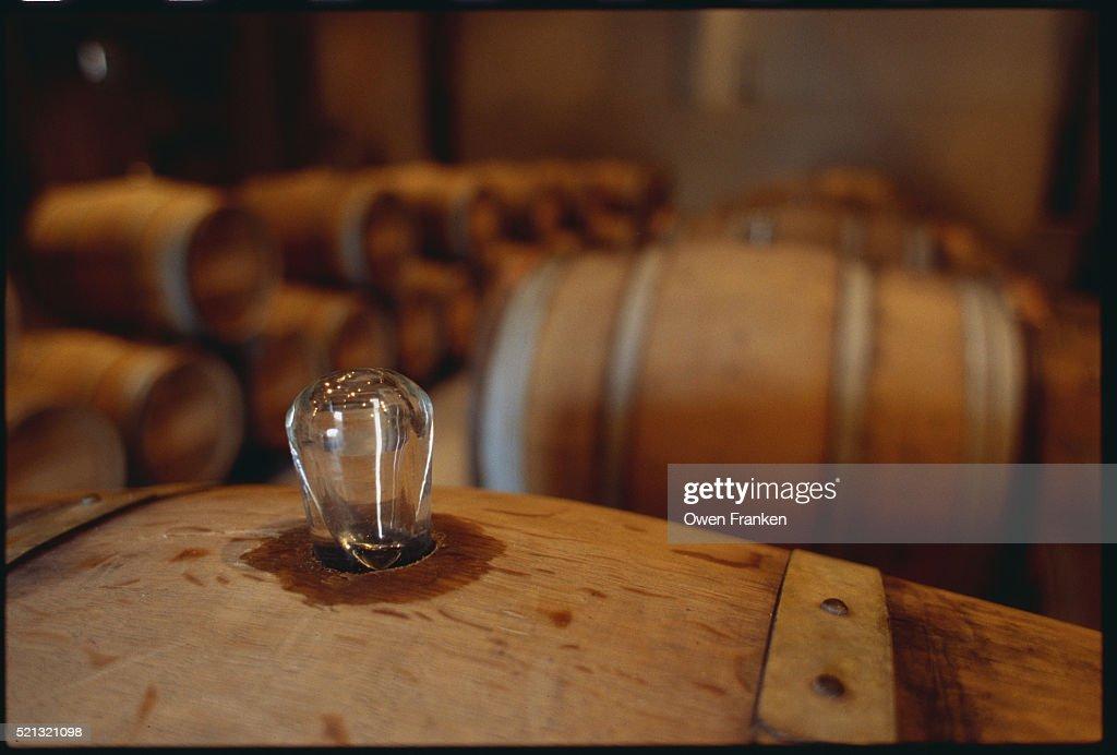 Plug On A Sauternes Barrel At Chateau Fargues Stock Photo