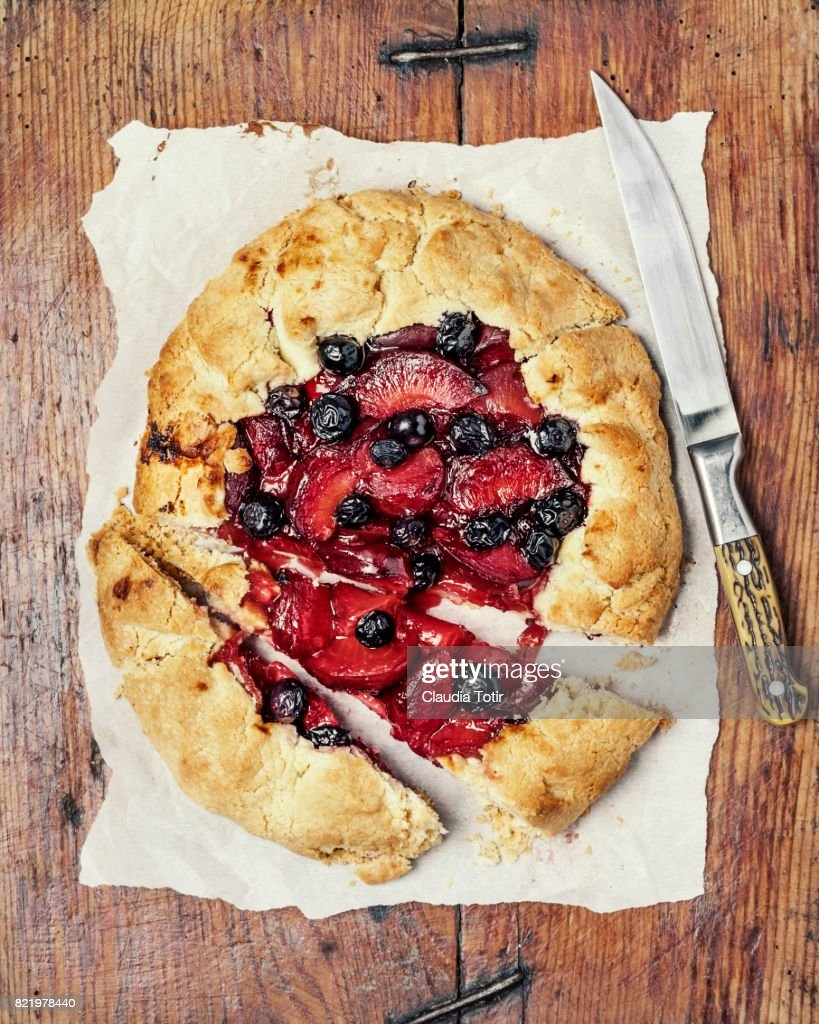 Plum and blueberry pie : Stock Photo