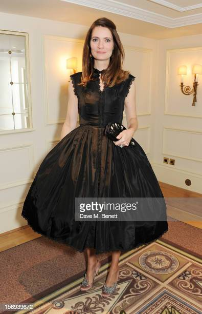 Plum Sykes attends a drinks reception at the 58th London Evening Standard Theatre Awards in association with Burberry at The Savoy Hotel on November...